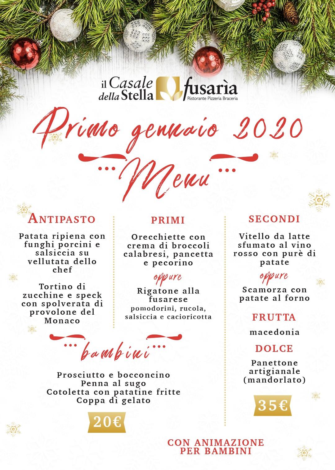 Menu del 1 gennaio 2020 al Casale della Stella Fusaria